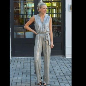 Bishop + Young metallic aspen jumpsuit silver gold